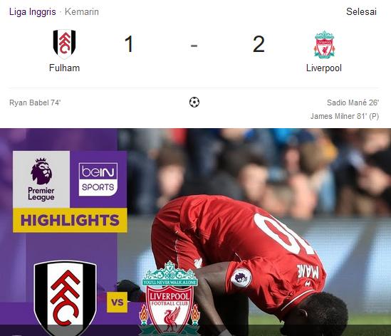 Fulham Vs Liverpool Liga Inggris 2018-2019